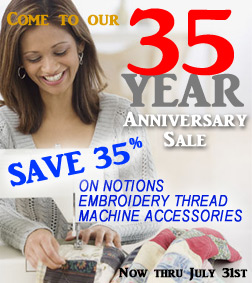 35th Anniversary Sewing Sale banner